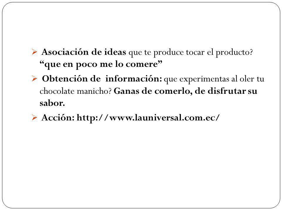 Asociación de ideas que te produce tocar el producto.