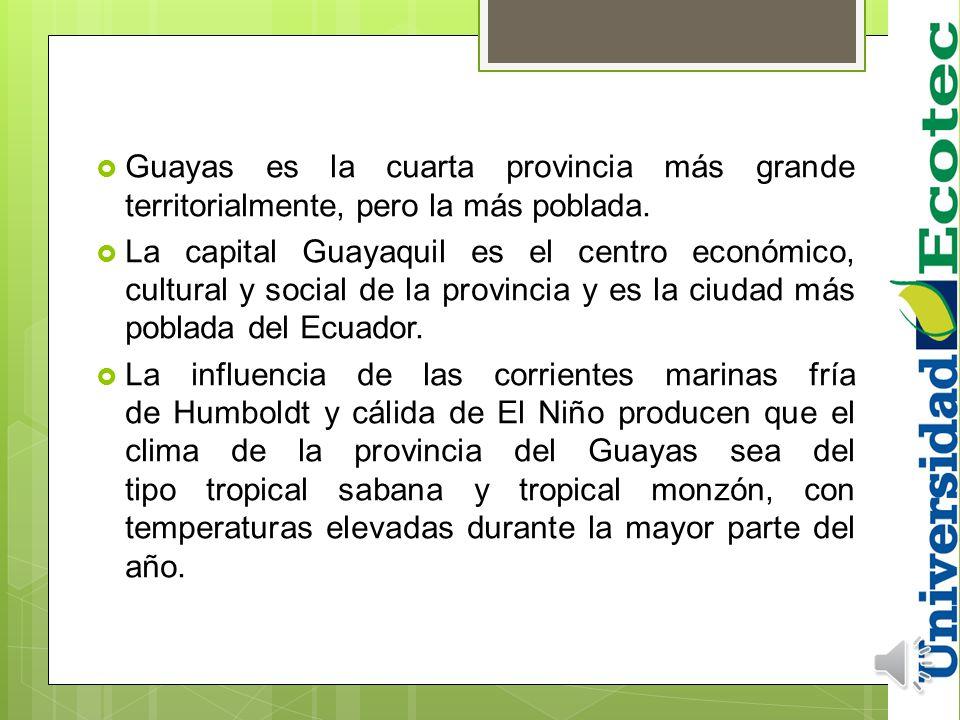 GUAYAS + de 3 millones habitantes PROVINCIA + POBLADA DE ECUADOR