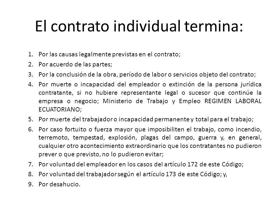 El contrato individual termina: 1. Por las causas legalmente previstas en el contrato; 2. Por acuerdo de las partes; 3.Por la conclusión de la obra, p