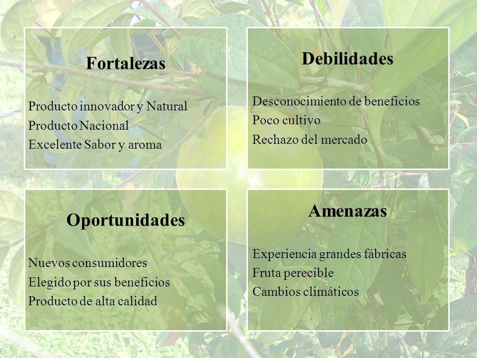 Fortalezas Producto innovador y Natural Producto Nacional Excelente Sabor y aroma Debilidades Desconocimiento de beneficios Poco cultivo Rechazo del m