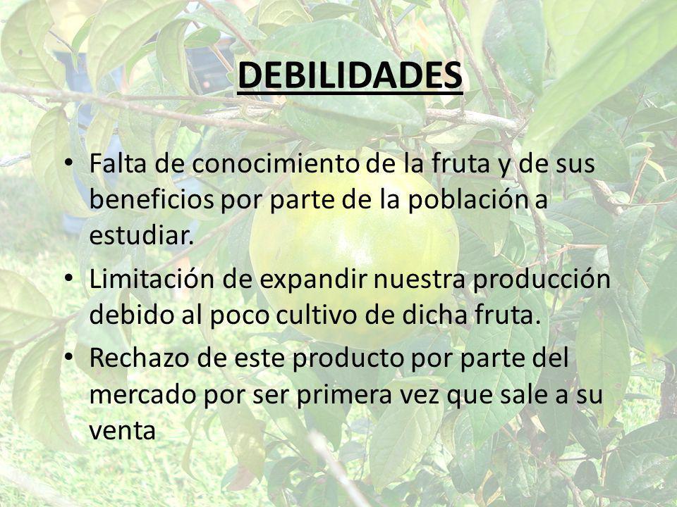 DEBILIDADES Falta de conocimiento de la fruta y de sus beneficios por parte de la población a estudiar. Limitación de expandir nuestra producción debi