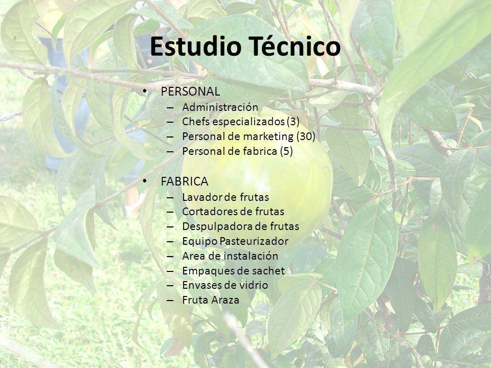 Estudio Técnico PERSONAL – Administración – Chefs especializados (3) – Personal de marketing (30) – Personal de fabrica (5) FABRICA – Lavador de fruta