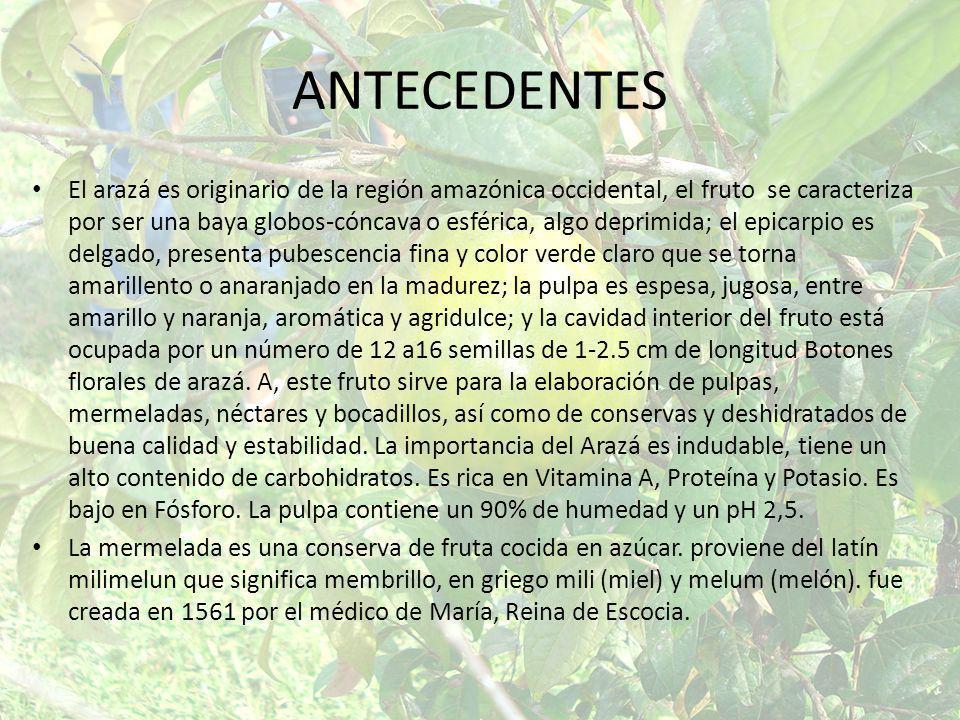 ANTECEDENTES El arazá es originario de la región amazónica occidental, el fruto se caracteriza por ser una baya globos-cóncava o esférica, algo deprim