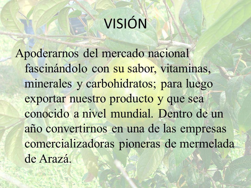 VISIÓN Apoderarnos del mercado nacional fascinándolo con su sabor, vitaminas, minerales y carbohidratos; para luego exportar nuestro producto y que se