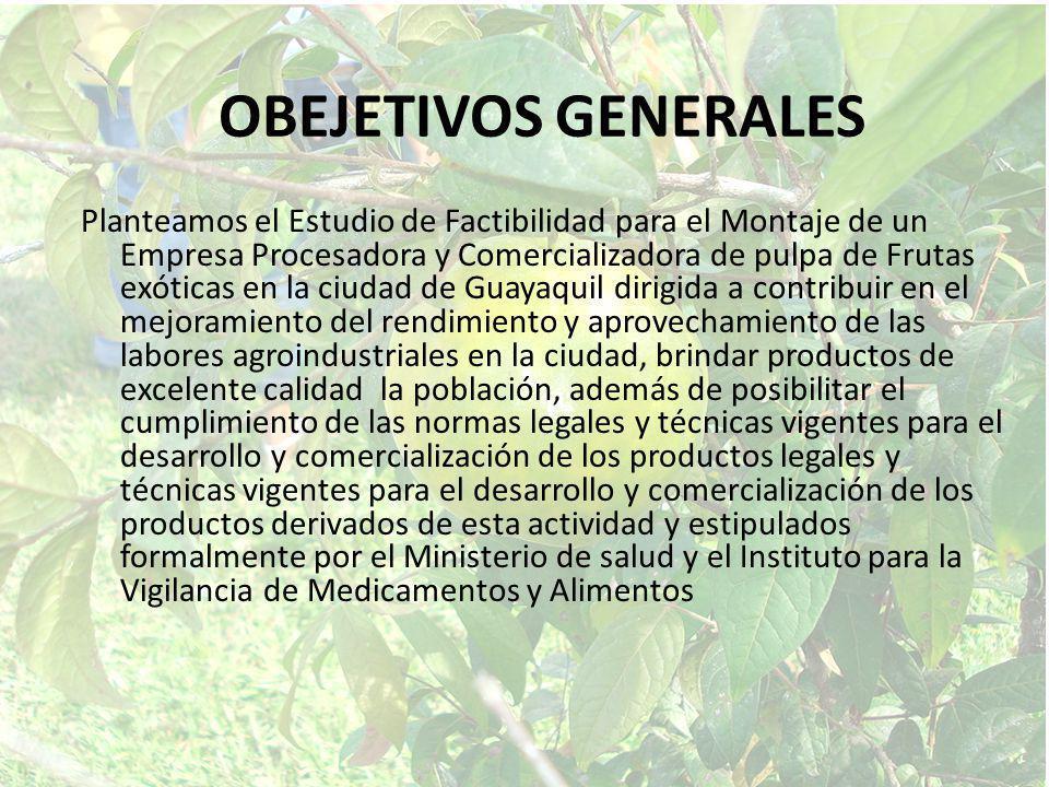 OBEJETIVOS GENERALES Planteamos el Estudio de Factibilidad para el Montaje de un Empresa Procesadora y Comercializadora de pulpa de Frutas exóticas en