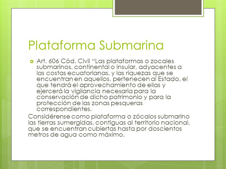 Plataforma Submarina Art. 606 Cód. Civil Las plataformas o zocales submarinos, continental o insular, adyacentes a las costas ecuatorianas, y las riqu