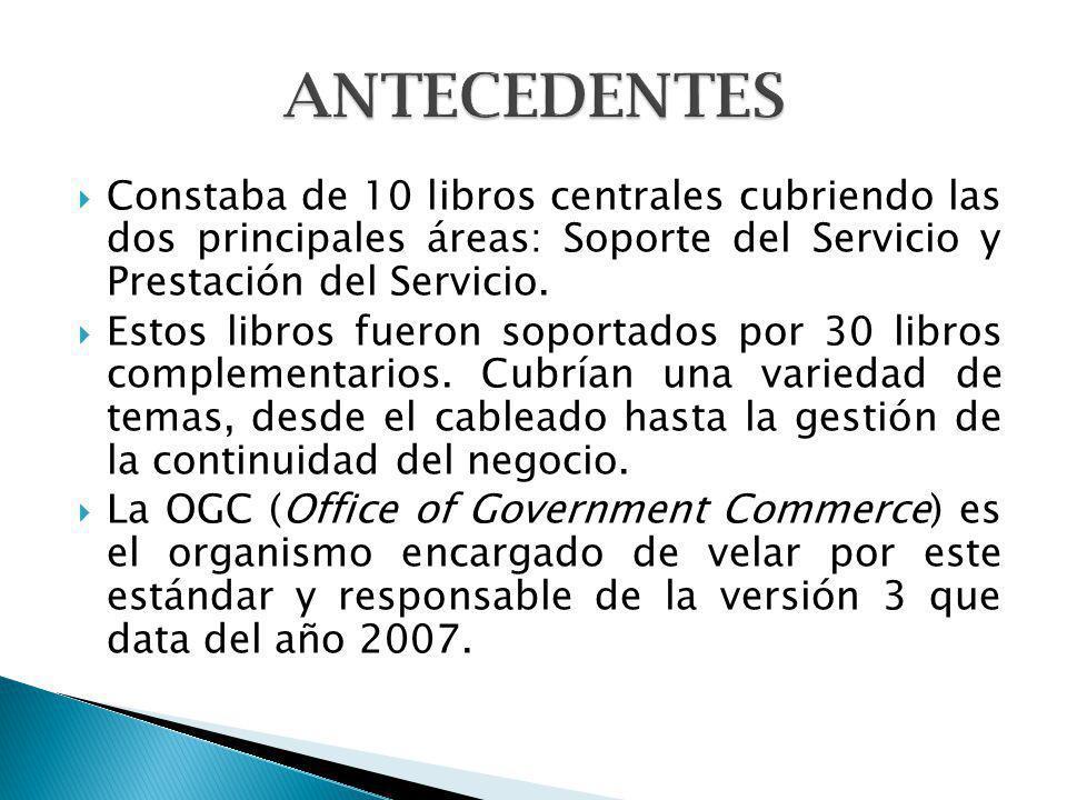 Constaba de 10 libros centrales cubriendo las dos principales áreas: Soporte del Servicio y Prestación del Servicio. Estos libros fueron soportados po