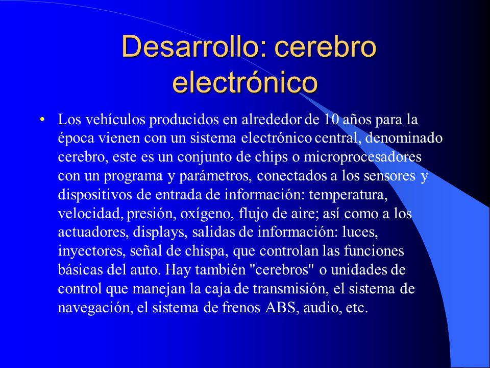 Desarrollo: cerebro electrónico Desarrollo: cerebro electrónico Los vehículos producidos en alrededor de 10 años para la época vienen con un sistema e