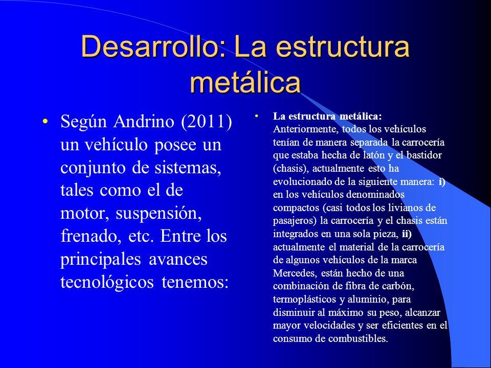 Desarrollo: La estructura metálica Según Andrino (2011) un vehículo posee un conjunto de sistemas, tales como el de motor, suspensión, frenado, etc. E