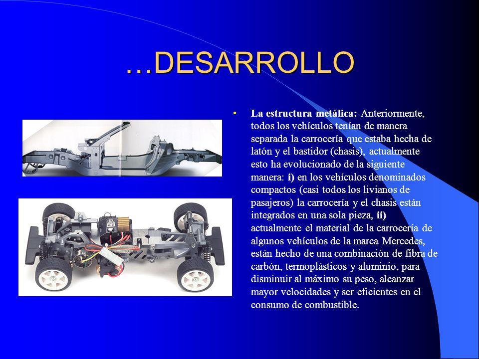 …DESARROLLO La estructura metálica: Anteriormente, todos los vehículos tenían de manera separada la carrocería que estaba hecha de latón y el bastidor