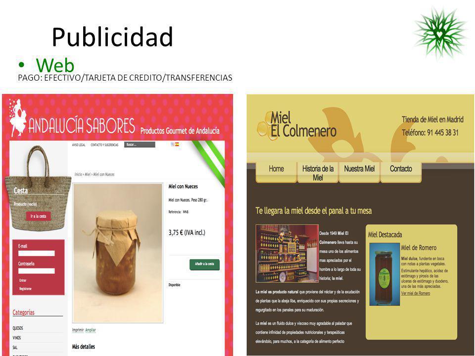 Publicidad Web PAGO: EFECTIVO/TARJETA DE CREDITO/TRANSFERENCIAS