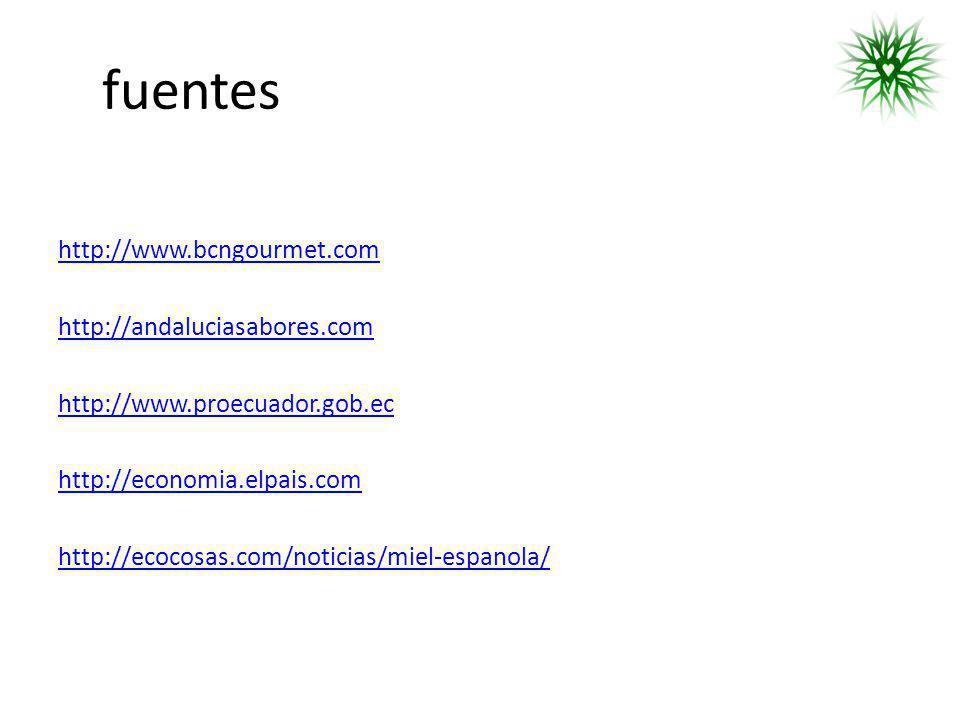 fuentes http://www.bcngourmet.com http://andaluciasabores.com http://www.proecuador.gob.ec http://economia.elpais.com http://ecocosas.com/noticias/mie