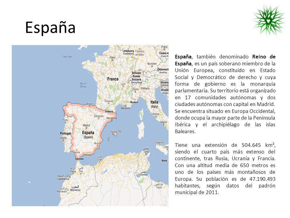 España España, también denominado Reino de España, es un país soberano miembro de la Unión Europea, constituído en Estado Social y Democrático de dere