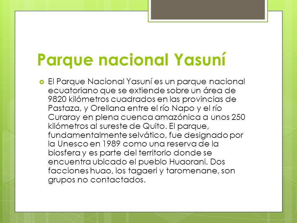 Parque nacional Yasuní El Parque Nacional Yasuní es un parque nacional ecuatoriano que se extiende sobre un área de 9820 kilómetros cuadrados en las p