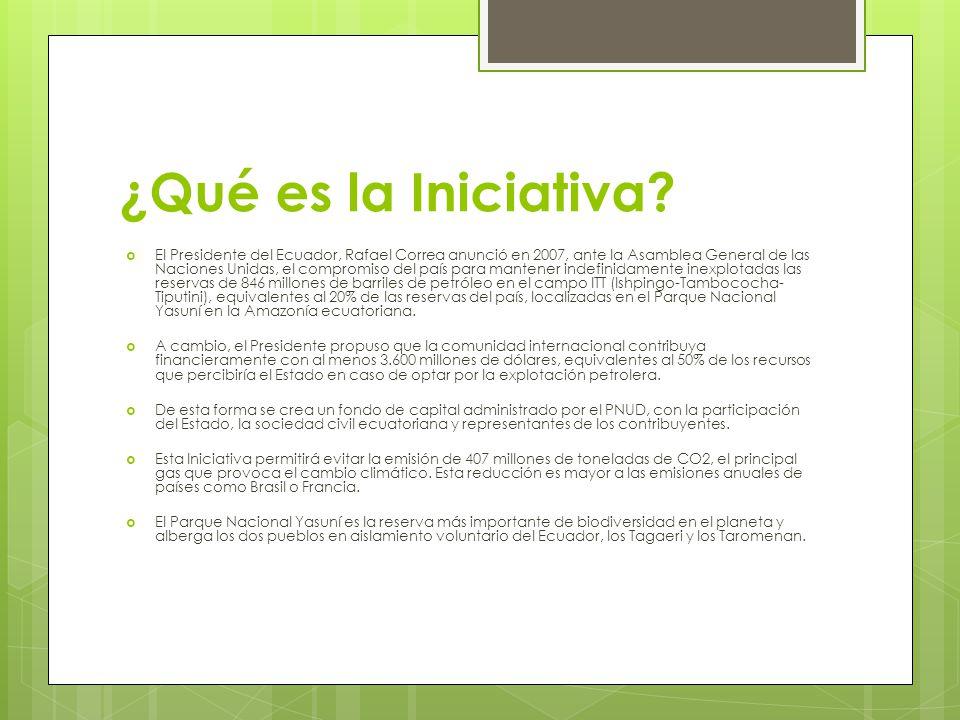 ¿Qué es la Iniciativa? El Presidente del Ecuador, Rafael Correa anunció en 2007, ante la Asamblea General de las Naciones Unidas, el compromiso del pa