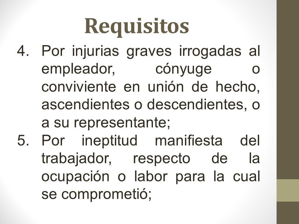 Requisitos 4.Por injurias graves irrogadas al empleador, cónyuge o conviviente en unión de hecho, ascendientes o descendientes, o a su representante;