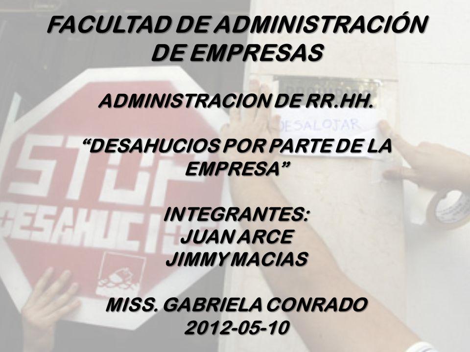 FACULTAD DE ADMINISTRACIÓN DE EMPRESAS ADMINISTRACION DE RR.HH.
