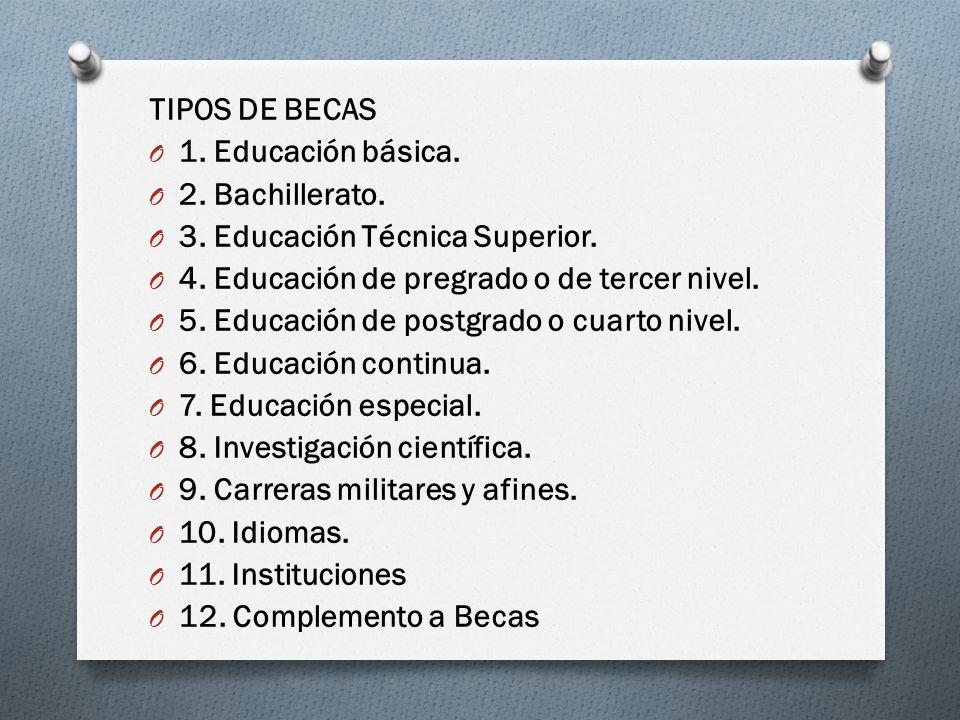 TIPOS DE BECAS O 1. Educación básica. O 2. Bachillerato. O 3. Educación Técnica Superior. O 4. Educación de pregrado o de tercer nivel. O 5. Educación