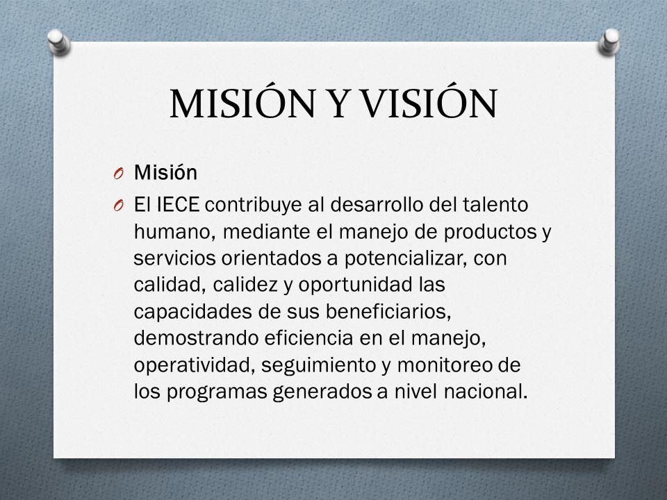 MISIÓN Y VISIÓN O Misión O El IECE contribuye al desarrollo del talento humano, mediante el manejo de productos y servicios orientados a potencializar