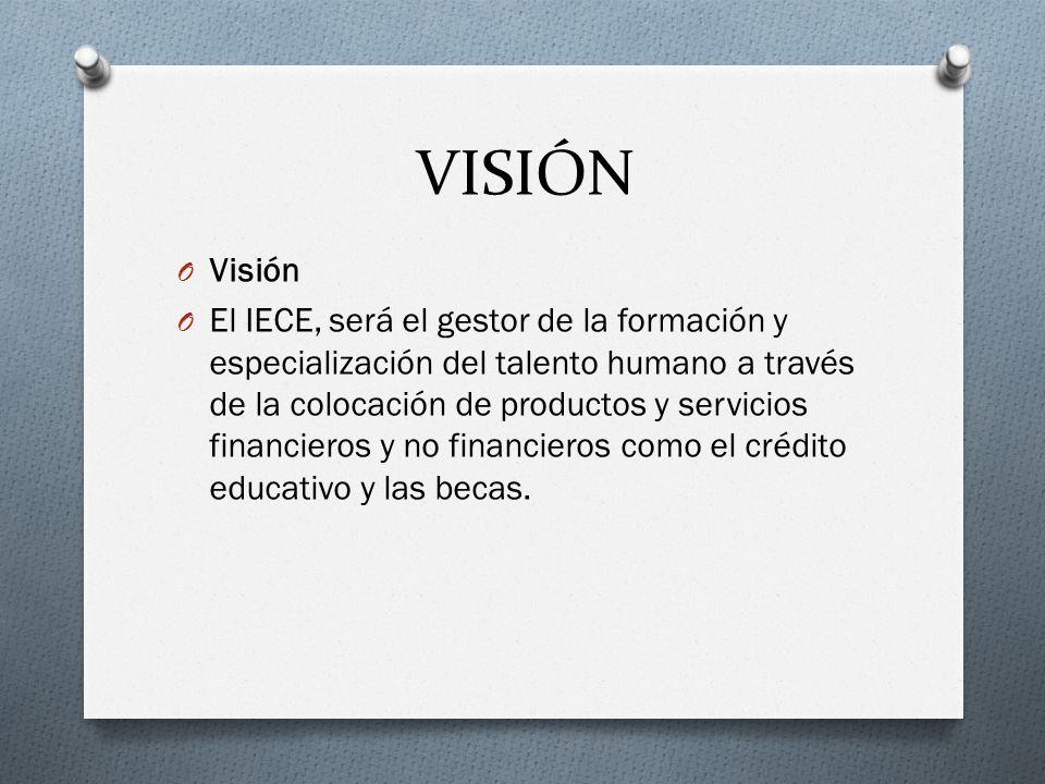 VISIÓN O Visión O El IECE, será el gestor de la formación y especialización del talento humano a través de la colocación de productos y servicios fina