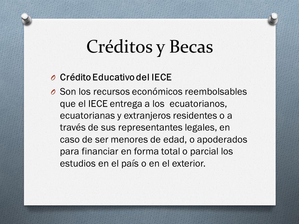 Créditos y Becas O Crédito Educativo del IECE O Son los recursos económicos reembolsables que el IECE entrega a los ecuatorianos, ecuatorianas y extra