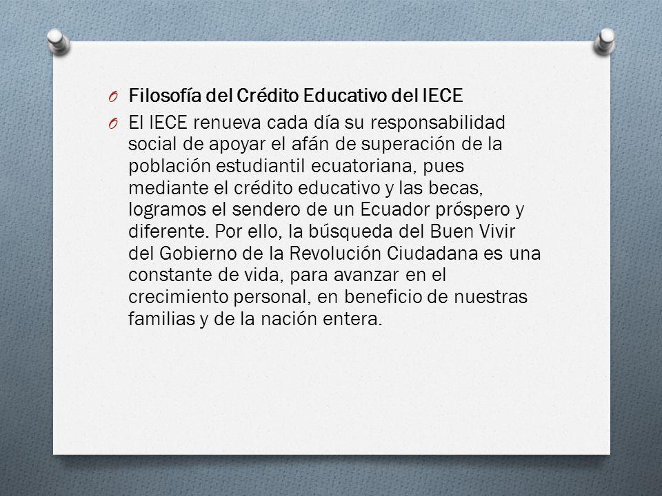 O Filosofía del Crédito Educativo del IECE O El IECE renueva cada día su responsabilidad social de apoyar el afán de superación de la población estudi