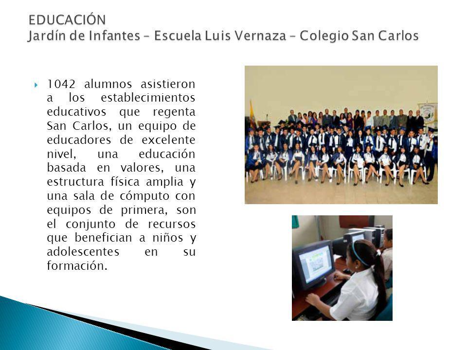 1042 alumnos asistieron a los establecimientos educativos que regenta San Carlos, un equipo de educadores de excelente nivel, una educación basada en