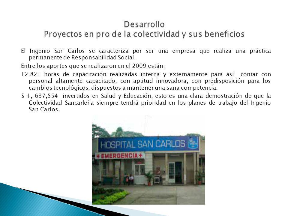 El Ingenio San Carlos se caracteriza por ser una empresa que realiza una práctica permanente de Responsabilidad Social. Entre los aportes que se reali