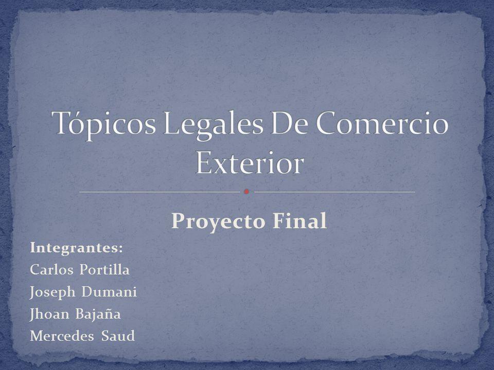 Proyecto Final Integrantes: Carlos Portilla Joseph Dumani Jhoan Bajaña Mercedes Saud