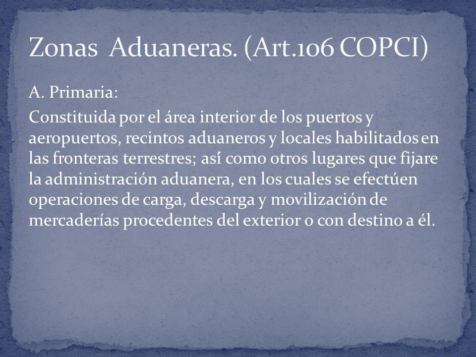 A. Primaria: Constituida por el área interior de los puertos y aeropuertos, recintos aduaneros y locales habilitados en las fronteras terrestres; así́