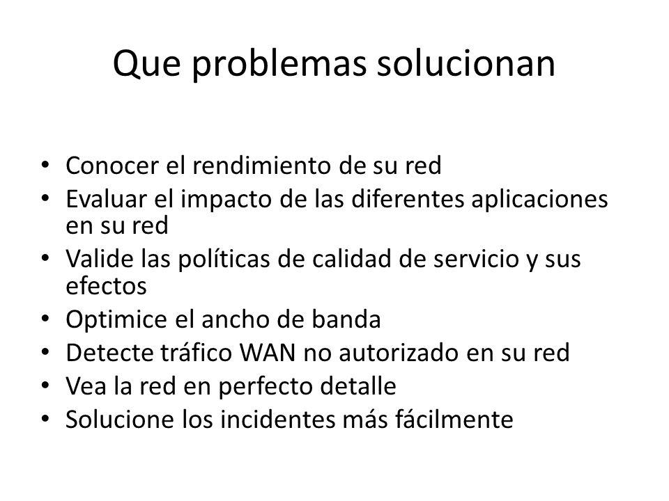 Que problemas solucionan Conocer el rendimiento de su red Evaluar el impacto de las diferentes aplicaciones en su red Valide las políticas de calidad