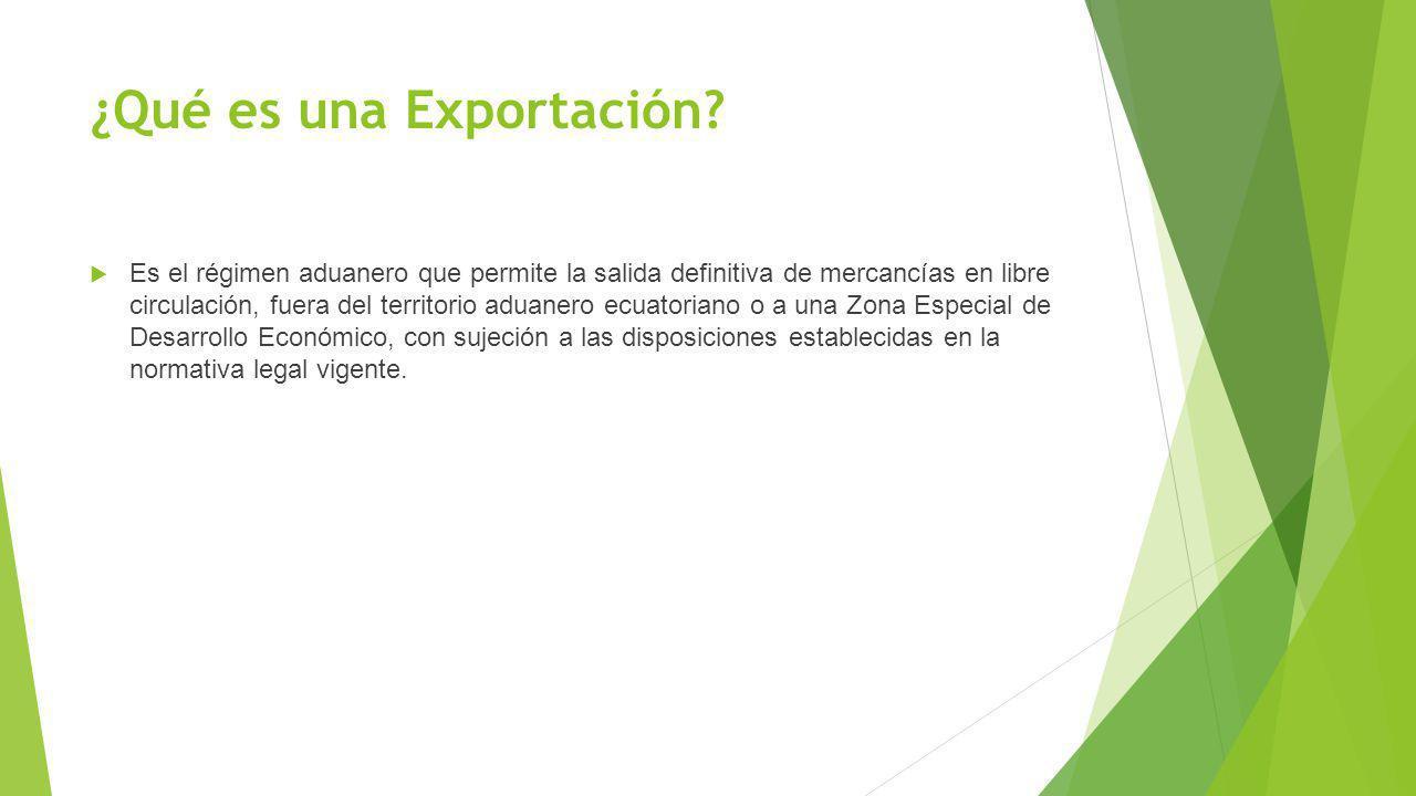 ¿Qué es una Exportación? Es el régimen aduanero que permite la salida definitiva de mercancías en libre circulación, fuera del territorio aduanero ecu