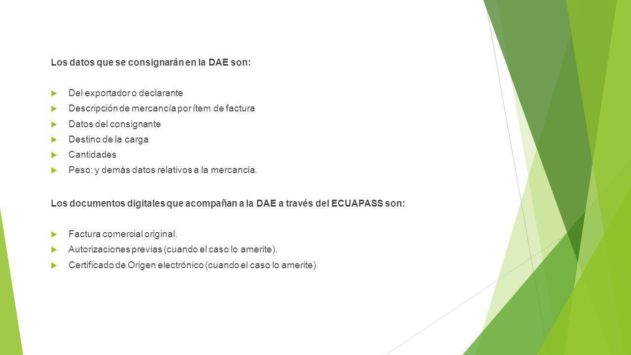 Los datos que se consignarán en la DAE son: Del exportador o declarante Descripción de mercancía por ítem de factura Datos del consignante Destino de