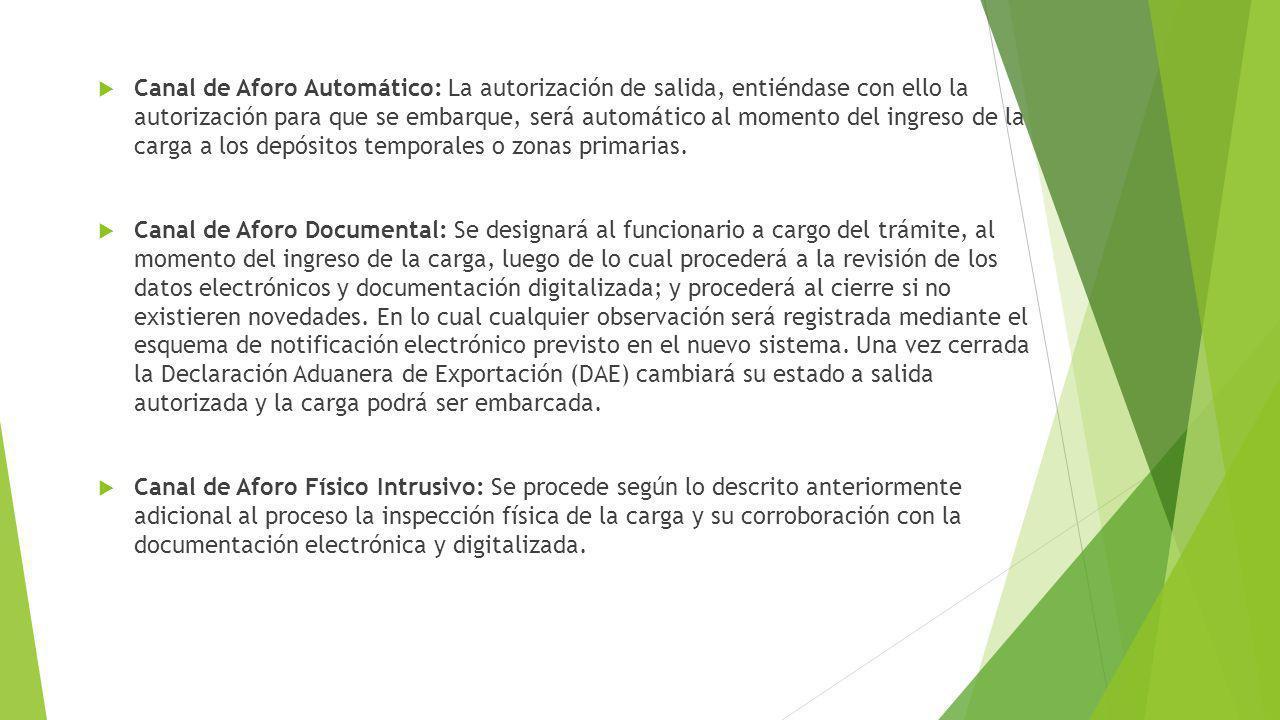 Canal de Aforo Automático: La autorización de salida, entiéndase con ello la autorización para que se embarque, será automático al momento del ingreso de la carga a los depósitos temporales o zonas primarias.