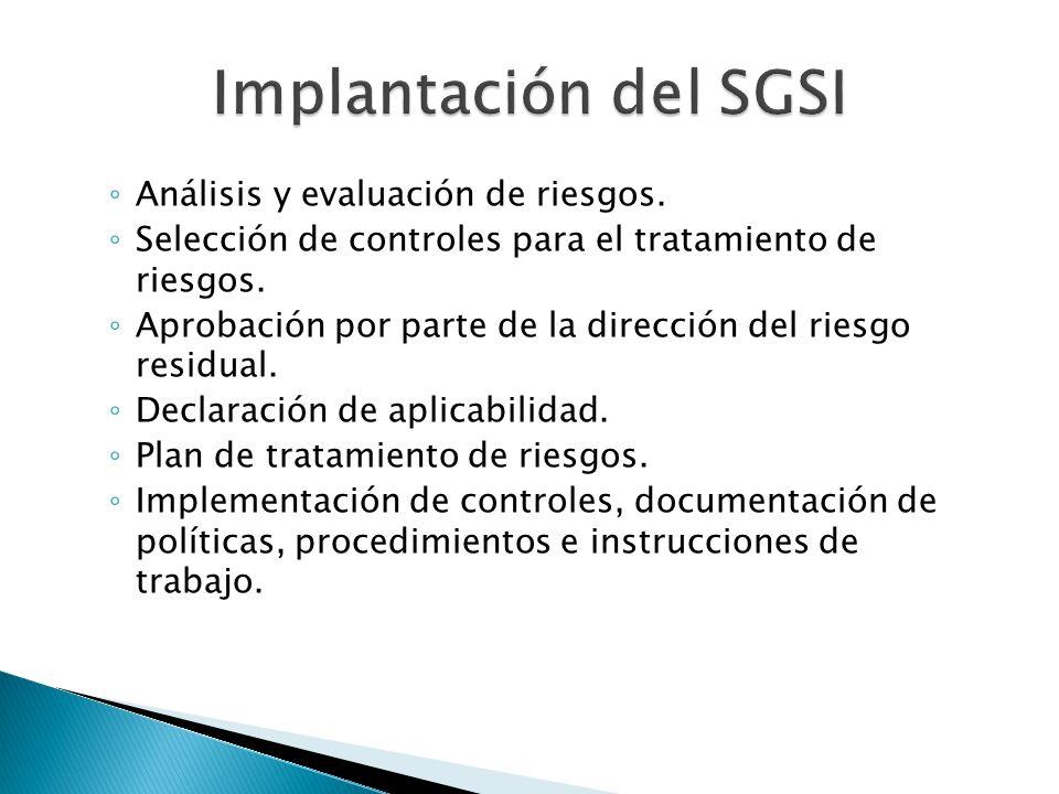 Análisis y evaluación de riesgos. Selección de controles para el tratamiento de riesgos. Aprobación por parte de la dirección del riesgo residual. Dec