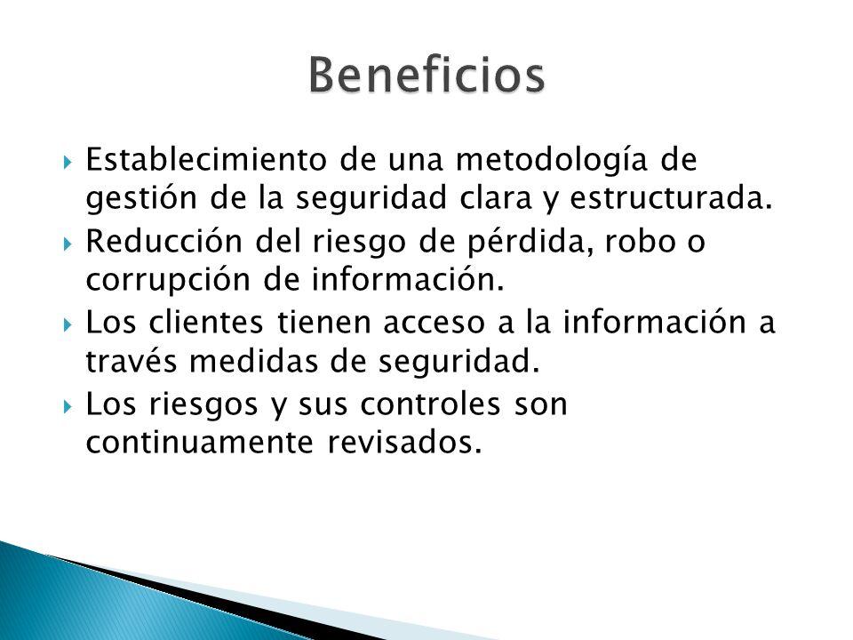 Establecimiento de una metodología de gestión de la seguridad clara y estructurada. Reducción del riesgo de pérdida, robo o corrupción de información.
