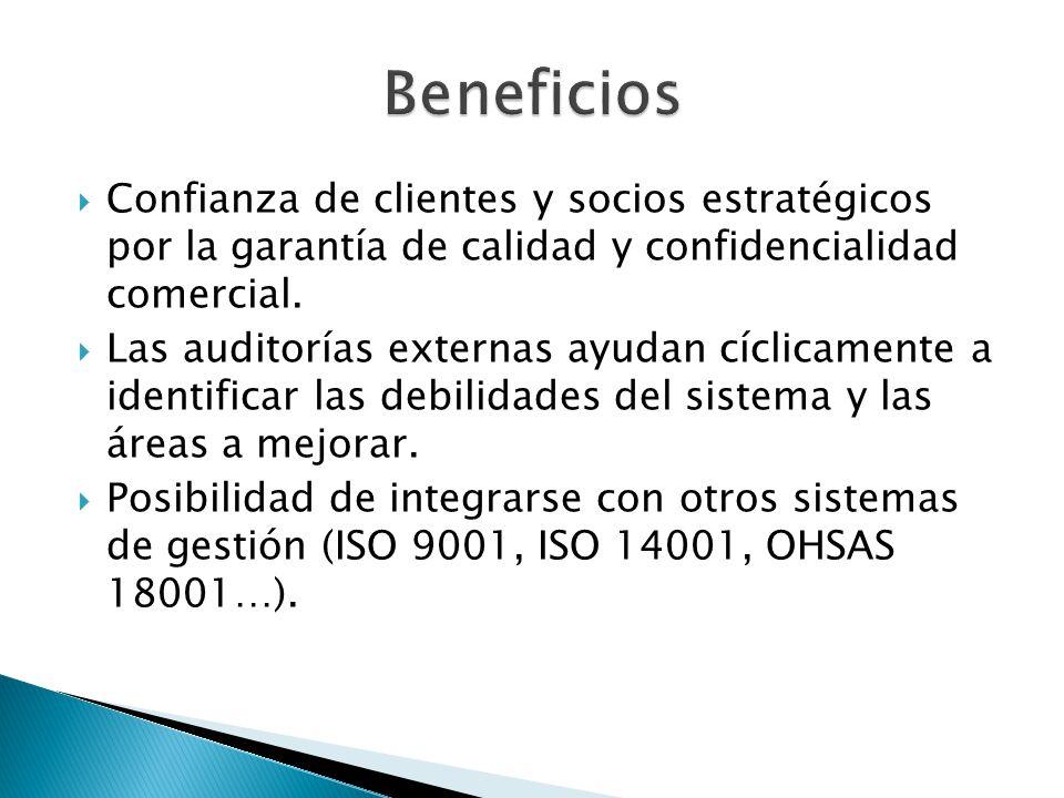 Confianza de clientes y socios estratégicos por la garantía de calidad y confidencialidad comercial. Las auditorías externas ayudan cíclicamente a ide