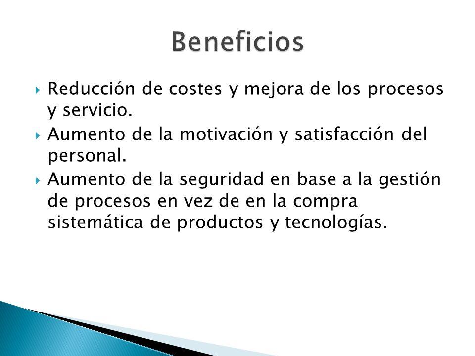 Reducción de costes y mejora de los procesos y servicio. Aumento de la motivación y satisfacción del personal. Aumento de la seguridad en base a la ge
