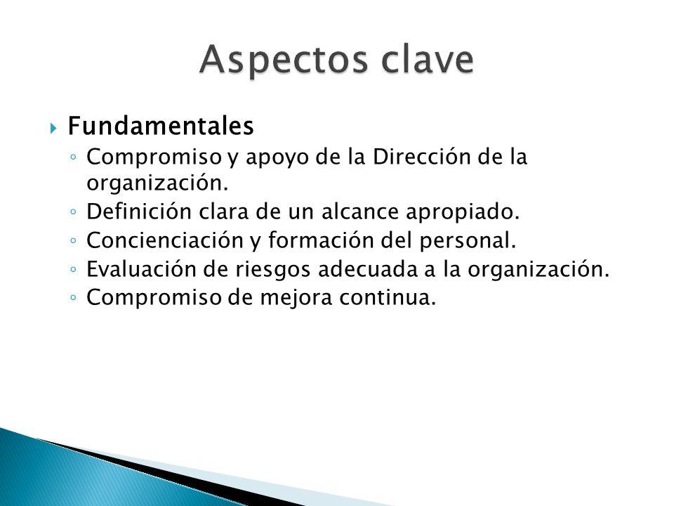 Fundamentales Compromiso y apoyo de la Dirección de la organización. Definición clara de un alcance apropiado. Concienciación y formación del personal