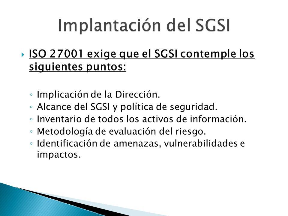ISO 27001 exige que el SGSI contemple los siguientes puntos: Implicación de la Dirección. Alcance del SGSI y política de seguridad. Inventario de todo