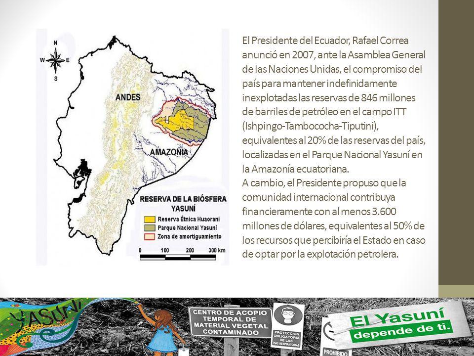 El Presidente del Ecuador, Rafael Correa anunció en 2007, ante la Asamblea General de las Naciones Unidas, el compromiso del país para mantener indefi