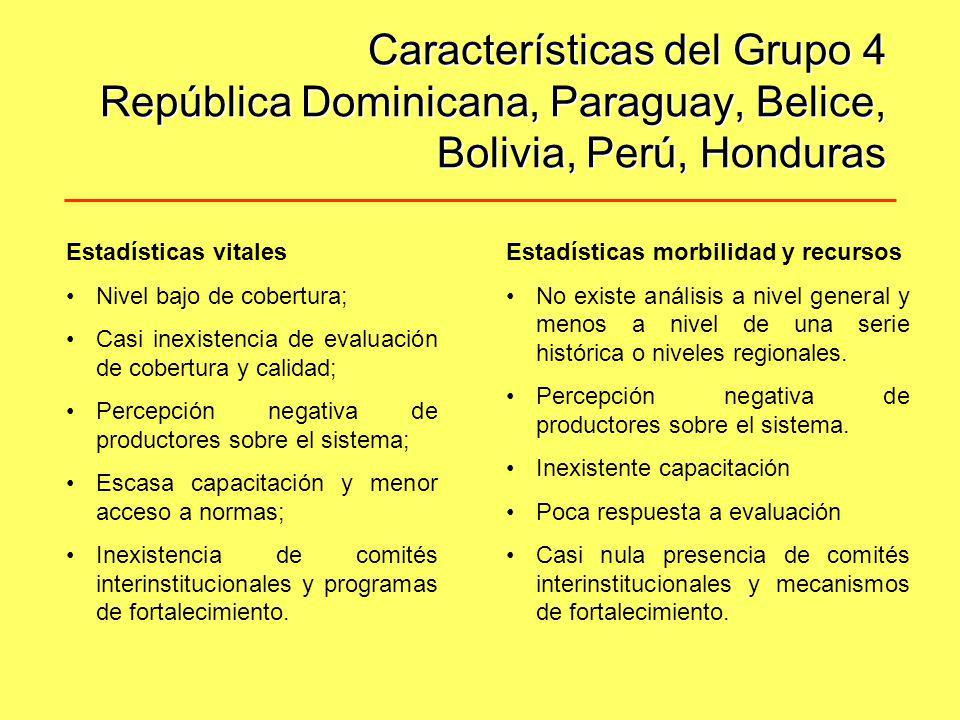 Características del Grupo 4 República Dominicana, Paraguay, Belice, Bolivia, Perú, Honduras Estadísticas vitales Nivel bajo de cobertura; Casi inexist