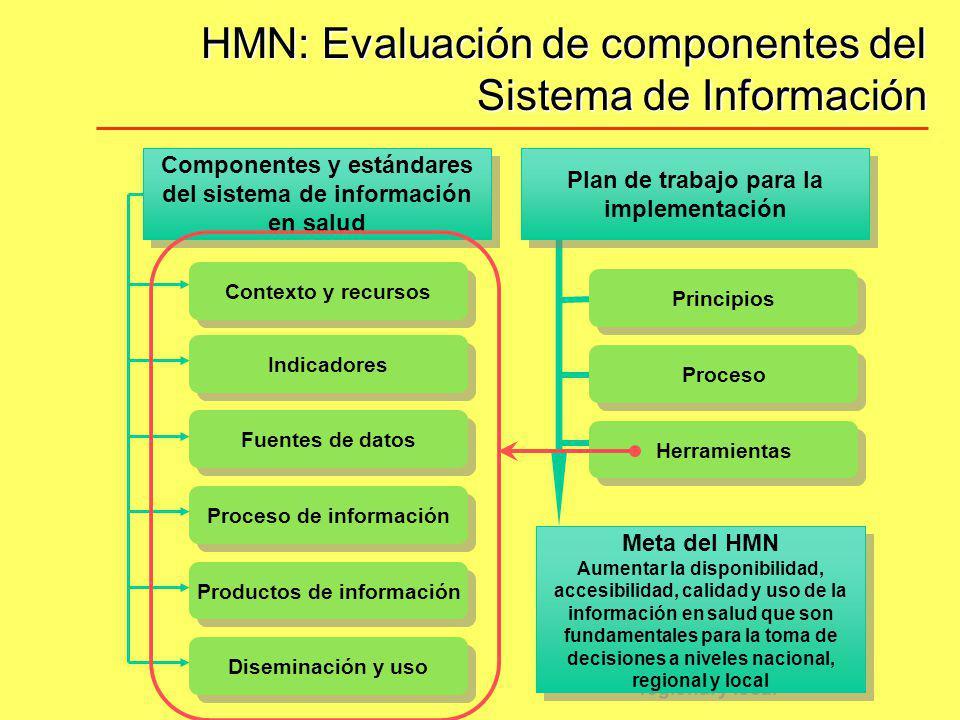 HMN: Evaluación de componentes del Sistema de Información Principios Diseminación y uso Fuentes de datos Indicadores Contexto y recursos Proceso de in