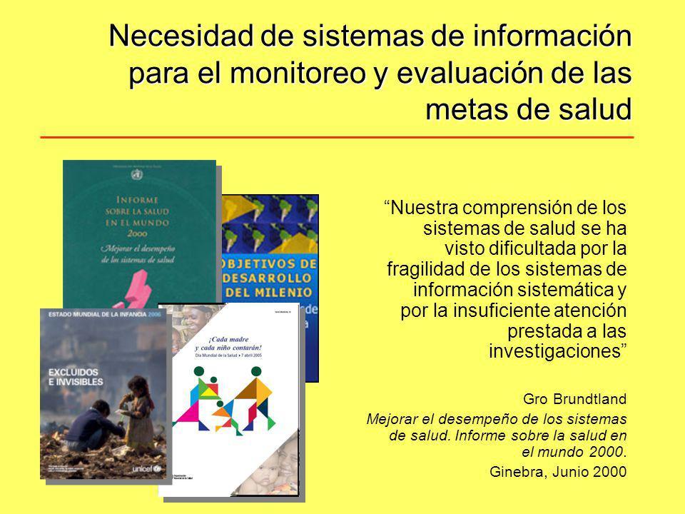 Necesidad de sistemas de información para el monitoreo y evaluación de las metas de salud Nuestra comprensión de los sistemas de salud se ha visto dif