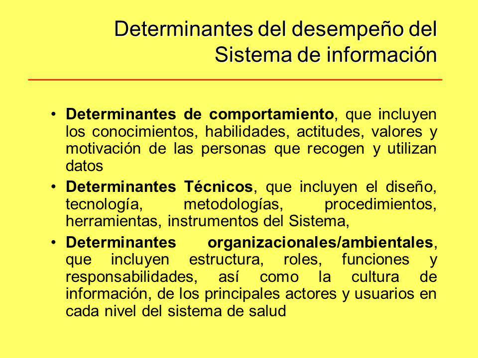 Determinantes del desempeño del Sistema de información Determinantes de comportamiento, que incluyen los conocimientos, habilidades, actitudes, valore