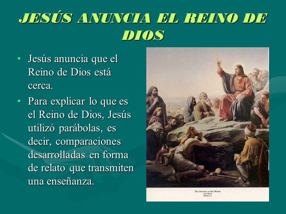 JESÚS ANUNCIA EL REINO DE DIOS Jesús anuncia que el Reino de Dios está cerca.Jesús anuncia que el Reino de Dios está cerca. Para explicar lo que es el