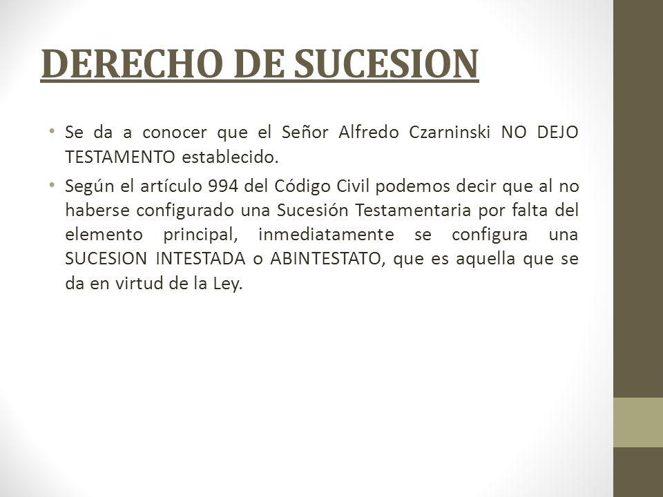 DERECHO DE SUCESION Se da a conocer que el Señor Alfredo Czarninski NO DEJO TESTAMENTO establecido. Según el artículo 994 del Código Civil podemos dec