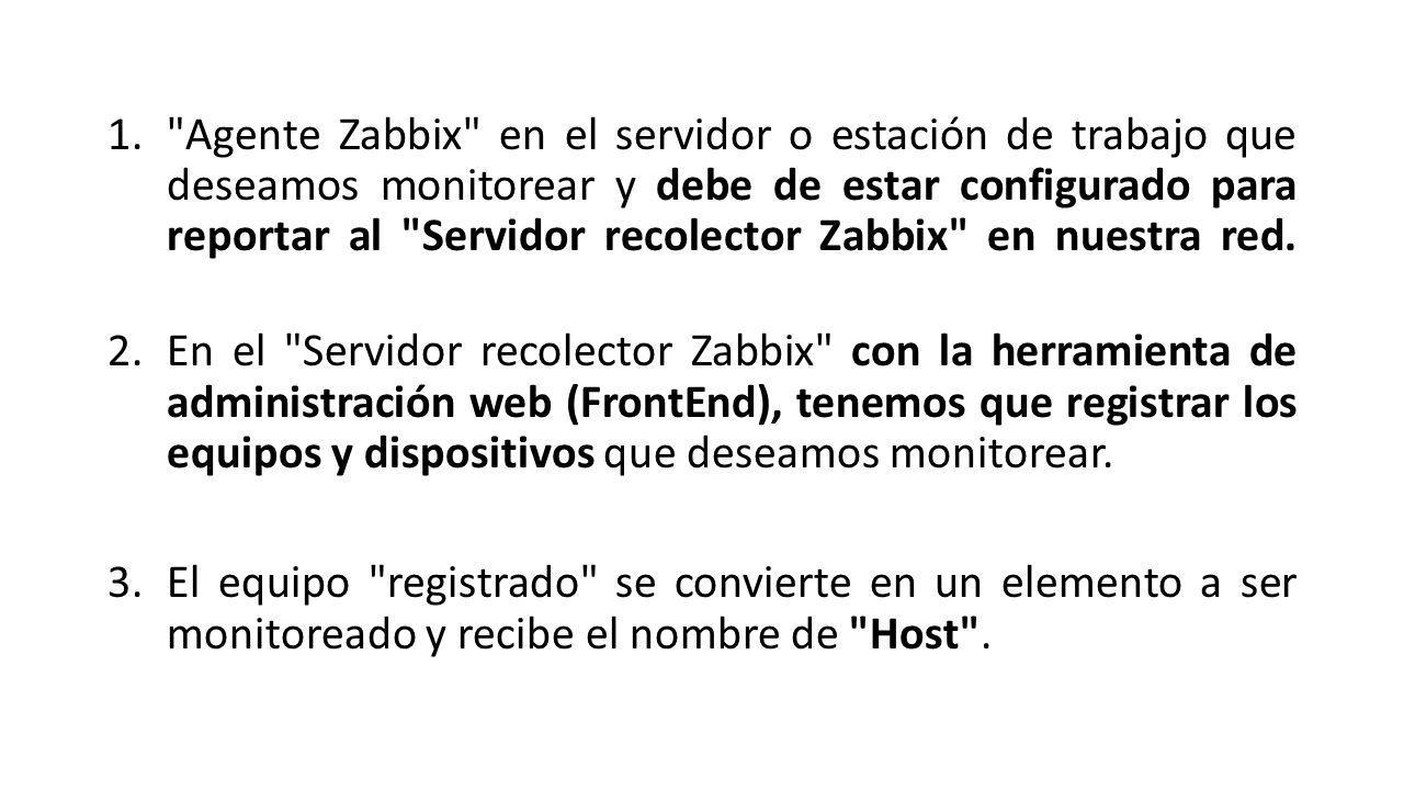 1. Agente Zabbix en el servidor o estación de trabajo que deseamos monitorear y debe de estar configurado para reportar al Servidor recolector Zabbix en nuestra red.