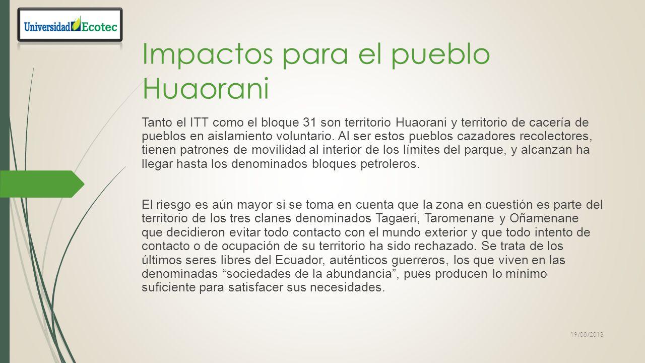YASUNI IMPACTO AMBIENTAL N´DANOS AMBIENTALES 1Deforestación.