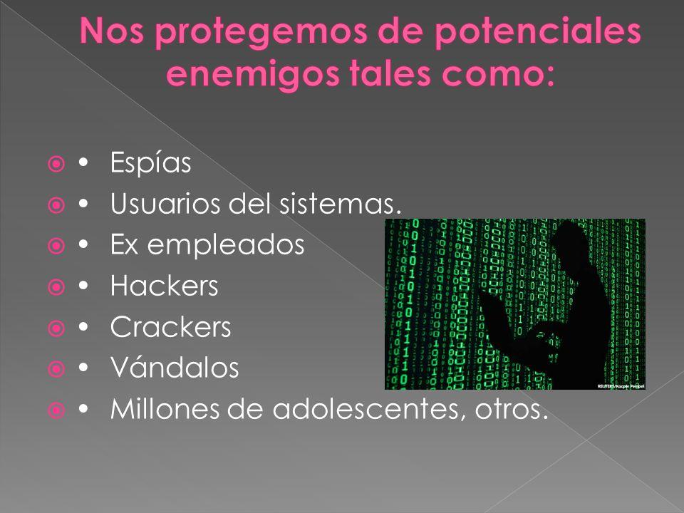 Espías Usuarios del sistemas. Ex empleados Hackers Crackers Vándalos Millones de adolescentes, otros.